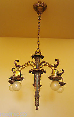 Vintage Lighting antique pair 1930s green gold chandeliers   High Quality