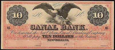1800s $10 DOLLAR BILL BIG EAGLE NOTE NEW ORLEANS CANAL BANK OBSOLETE CURRENCY AU