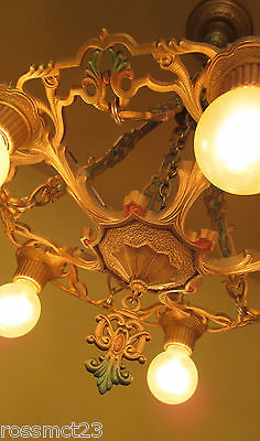 Vintage Lighting luscious 1920s polychrome chandelier!