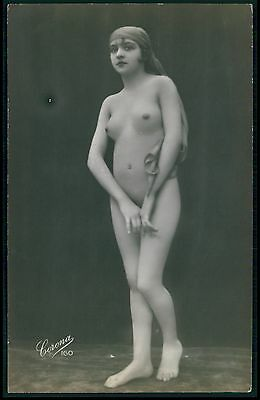 bb Gypsy style Flapper French nude woman original c1910-1920s photo postcard