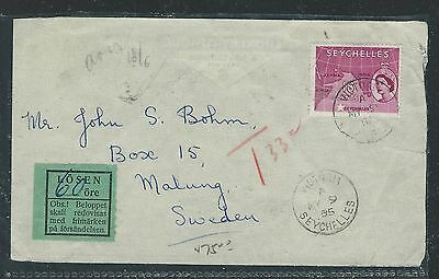 Seychelles (P0412B) 1955 Qeii 18C To Sweden With Swedish Postage Due Label