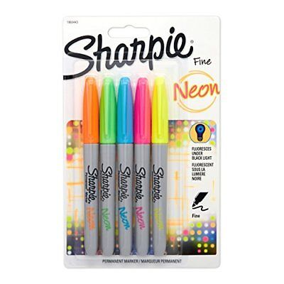Sharpie Neon Permanent Markers, Fine Point, Assorted Colors, 5 Count New