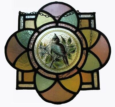 Beautiful Painted Blue Bird In Blossom Antique English Stained Glass Roundel