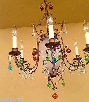 Vintage Lighting 1950s chandelier with colorful glass