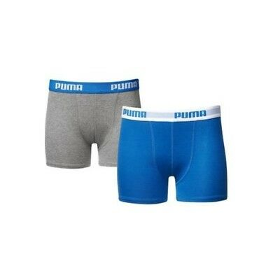 Puma Boys Trunk Shorts Children Basic Boxer Briefs 2 Pack of 4 Blue Grey NEW