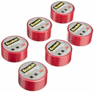 Scotch Expressions Magic Tape, 3/4 x 300 Inches, Red, 6-Rolls/Pack New