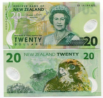 New Zealand 20 Dollars 2014 P 187 New Sign Polymer Unc Nr