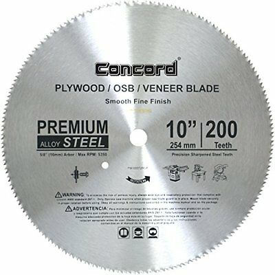 Concord Blades PLY1000T200HP 10-Inch 200 Teeth Plywood Steel Saw Blade New