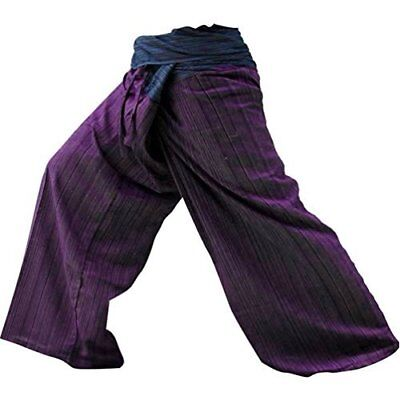 2 Tone Thai Fisherman Pants Yoga Trousers Free Size Cotton Blue and Maroon New