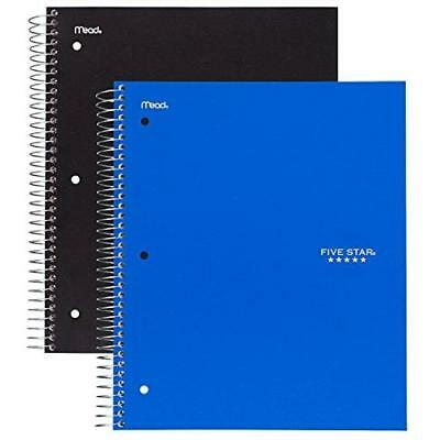 Five Star Spiral Notebook, 5 Subject, College Ruled, 200 Sheets, Black and New