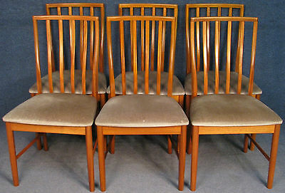 Set Of 6 Solid Teak Framed Kitchen / Dining Chairs