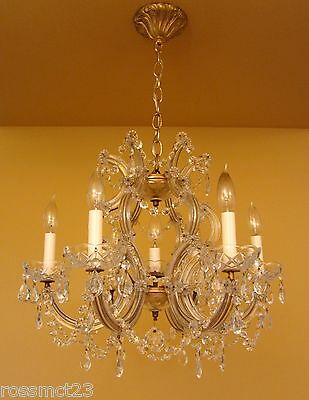Vintage Lighting antique Maria Theresa style crystal chandelier   Large 21 wide