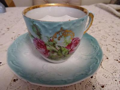 Edwardian  Large Moustache Cup Continental Pink Roses On Turquoise Ground