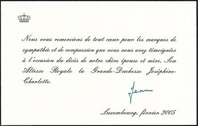 Royalty Letter of Thanks death Josephine Charlotte, autograph Jean of Luxembourg