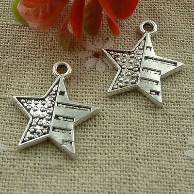 free ship 90 pieces tibetan silver star charms 23x20mm #2429