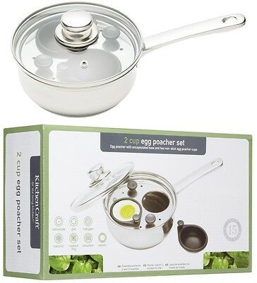 Kitchen Craft Induction 2 Cup / Hole 16cm Poached Egg Poaching Poacher Pan