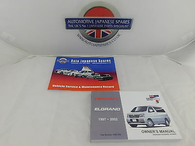Fits  Nissan Elgrand E50 1997- 2002 Owners Hand Book  & Service Booklet