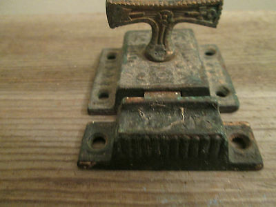Vintage Antique Victorian T Handle Cast Iron Spring Latch & Keeper - Brass T