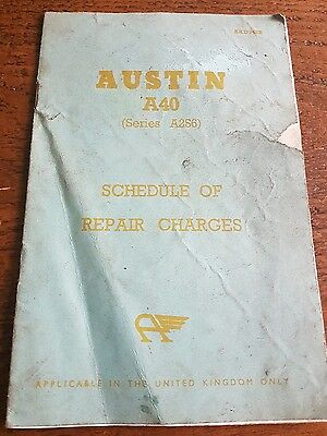Vintage Austin A40 Schedule Of Repair Charges