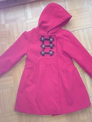 Gir's military style lined  red coat Age 4-5 Girl 2 Girl great condition