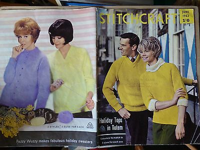 STITCHCRAFT JUNE 1962 - Vintage Knitting + Embroidery Magazine - INCOMPLETE