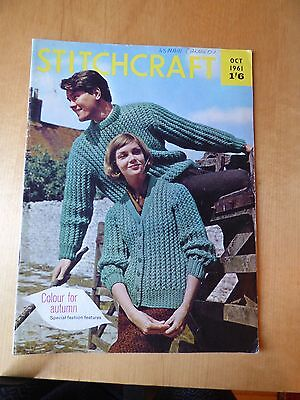 STITCHCRAFT OCTOBER 1961  - Vintage Knitting + Embroidery Magazine