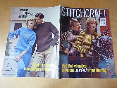 STITCHCRAFT OCTOBER 1962  - Vintage Knitting + Embroidery Magazine