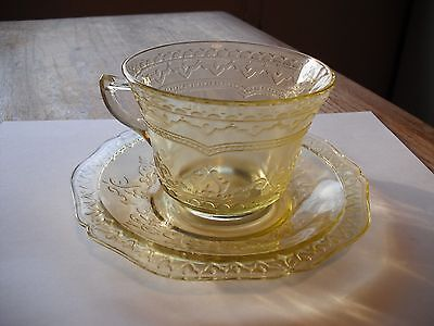 Vintage Federal Glass Amber Patrician Cup & Saucer Set
