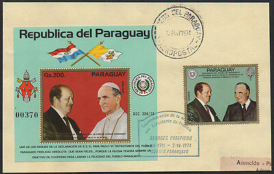 Paraguay 1974 Pope miniture sheet & G. Pompidou cashet used on registered front.