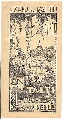 LATVIA COURLAND TOURISM PROMO FLYER 1930s TALSI LAKES&MOUNTAINS PEARL OF KURLAND