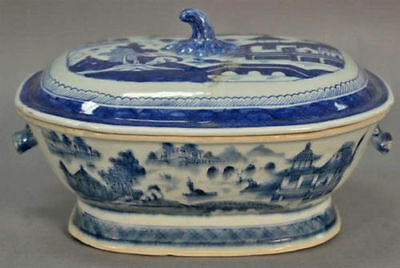 Chinese Export Canton Porcelain Covered Tureen Boars Head Handles Blue & White