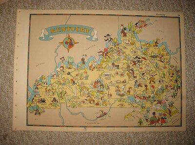 Antique 1935 Kentucky Our Usa A Gay Geography Cartoon Pictorial Map Stereotype N