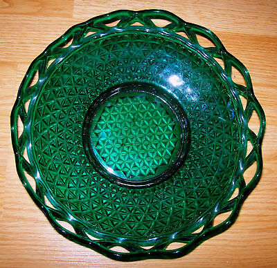 "Antique Vintage Retro Laced Edge Stiegel-Green Bowl Imperial Glass - 10"" RARE"