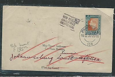 Kuwait (P2105B) 1938 Incoming From South Africa Unclaimed Great B/s