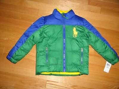 Polo Ralph Lauren Boys Jacket Baby Toddler Green Blue Puffer Big Pony 4 4T NWT