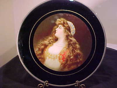 LARGE Antique Flue Cover  Victorian LADY Stove Pipe Cover GERMANY REVERSE PAINT
