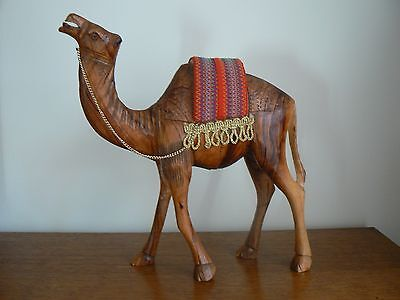 Large Wooden Hand Carved Camel With Decorated Saddle From Egypt