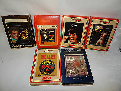 (6) Lot Of Elvis 8 Track Tapes & Oldies But Goodies Presley Ritchie Valens