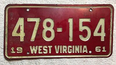 1960 West Virginia License Plate Tag 478-154