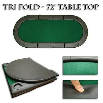 TAB-0004 Green 72 in.x32 in. Tri-Fold Poker Table Top With Cup Holders