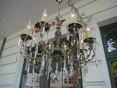 8 Light Italy Crystal Chandelier Silver Vintage Lamp Antique Nickel Old French
