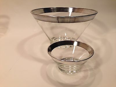 """Genuine DOROTHY THORPE Silver Band 10-5/8"""" Chip and Dip Bowl Set 5-1/4"""""""