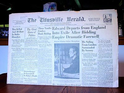 """king  Edward  Vii""      Historical Newspaper:  December  12,  1936"