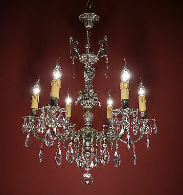 6 Light Cherubs French Silver Chandelier Crystal Glass Vintage Old Brass