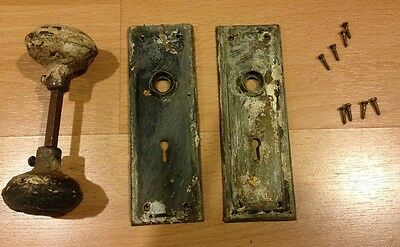 Vintage Doorknob Set With Back Plates, Metal, Antique Restoration