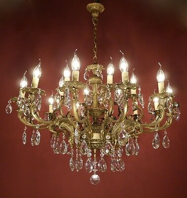 Huge Rococo  French Brass Chandelier Crystal Vintage Lamp Old Ancient Antique