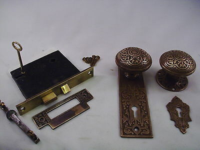 Antique Cast Bronze Door Knob Set Russell Erwin Mortise Lock & Key    #629