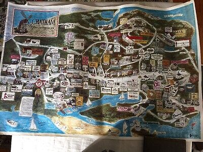 Rare Vintage Chatham Cape Cod MA 1985 Advertising Business Folk Art Poster Map