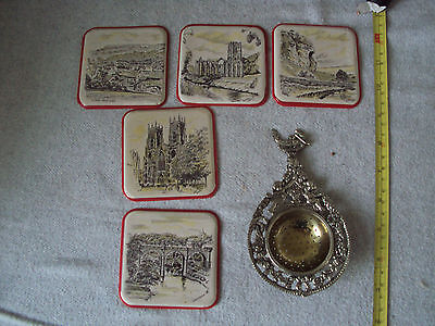 vintage tea strainer and coasters no reserve