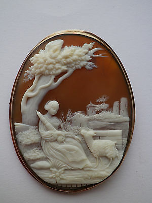 Antique 10K Yellow Gold Cameo Shell Filigree  Brooch: french pastoral scene !